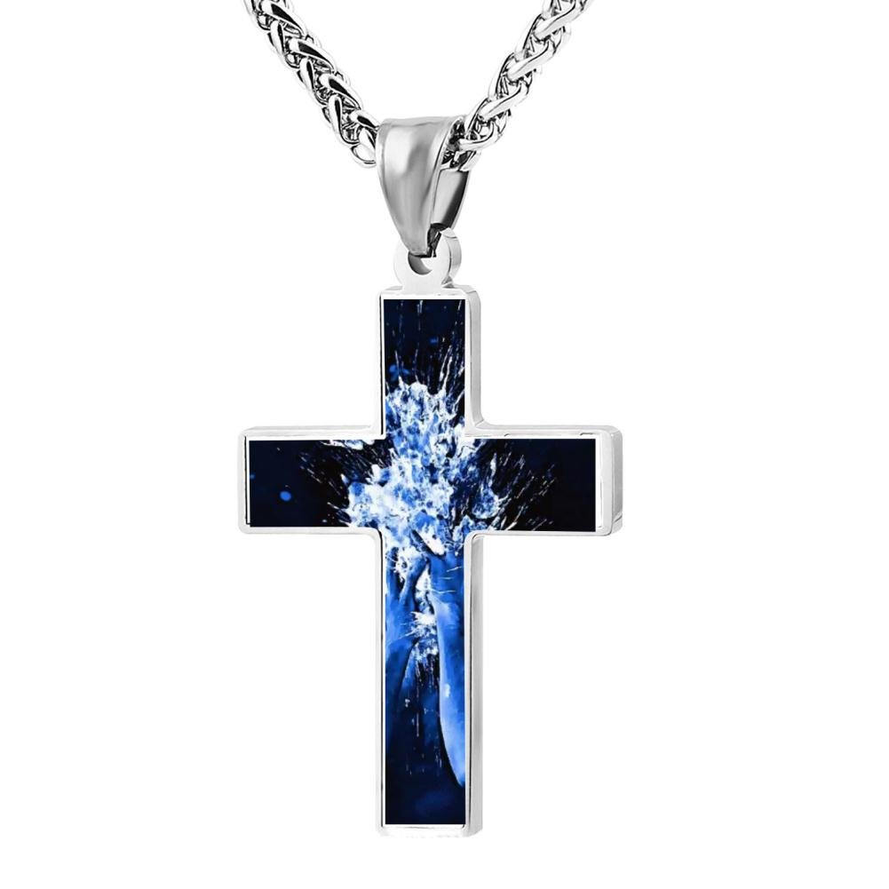Wine Jianxian Acid Trip Cross Pendant Jewelry Zinc Alloy Prayer Necklace For Men Women With Necklace,24 Inch