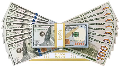PROP MONEY DOLLARS - $10,000 FULL PRINT NEW STYLE BILLS - For Movie Props, Film, Pretend Money Notes, Fake Money, Play Money, Costume Party, Decorations, Fancy Dress, Magic Tricks, Casino (Murder Mystery Costumes Fancy Dress)