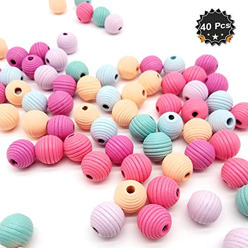 40 Pcs Candy Colors Mixed Wooden Beads