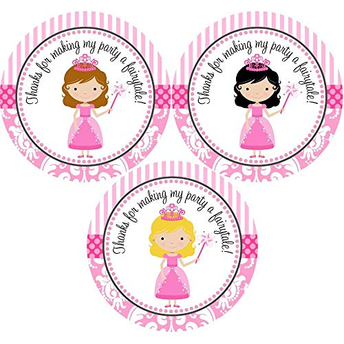 (Princess Sticker Labels for Girl Birthday Party - Favor Labels and Envelope Seal in Pink - Set of)