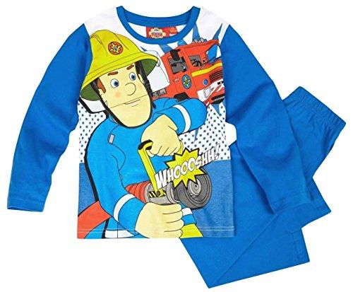 Feuerwehrmann Sam Kollektion 2016 Schlafanzug 92 98 104 110 116 122 128 Pyjama Fireman Sam Jungen Neu Top Blau (104 - 110, Blau)