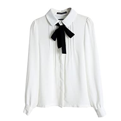 cute most popular arrives EXIU Femme Manches Longues à Col Claudine Arc Noeud en Mousseline de Soie  Blouse