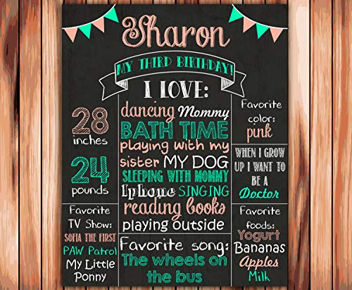 Dozili Personalized Third Birthday Chalkboard Style Metal Sign - Printable 3rd Birthday Board - Girl Coral Mint - Photo Prop Personalized Sign ()
