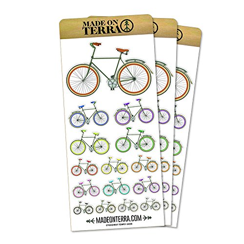 Gear Scrapbooking Stickers (Fixed Gear Bicycle Removable Matte Sticker Sheets Set)