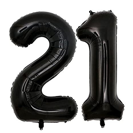 Amazon 40inch Jumbo Black 21 Number Balloons For 21st Birthday Decorations Helium Party Supplies Use Them As Props Photos Toys