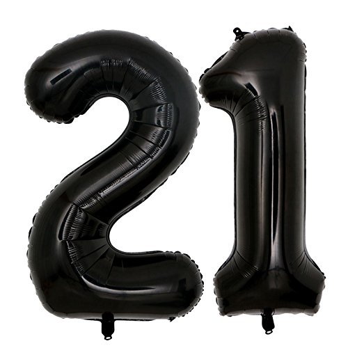 40inch Jumbo Black 21 number balloons for 21st Birthday Decorations helium balloons party supplies use them as Props for Photos (Black 21) -