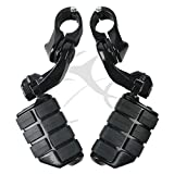 TCMT Black Short Highway Foot Pegs Motorcycle Footpeg Footrest Bracket Set For Harley Electra Road King Street Glide 1-1/4'' Bars