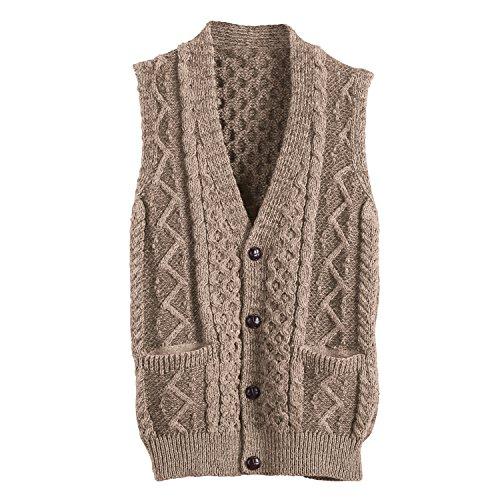 (Men's Aran Waistcoat - Button Down Sweater Vest - Wicker Beige - Large)