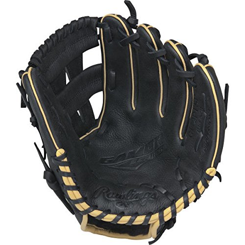 Rawlings  Gamer Gloves with Pro Taper Diamond Single Post Web, Left Hand, Black, 11.25
