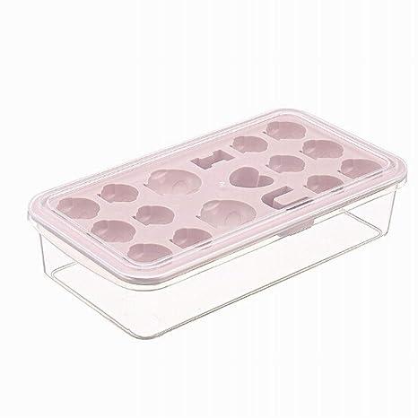RENNICOCO 1 PCS Bandejas de Cubitos de Hielo con Tapa de plástico Flexible 17 Congelador de