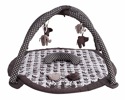 Bacati Elephants Unisex Activity Gym with Mat, Grey ()