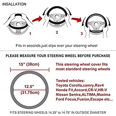 Evankin Steering Wheel Cover Cute and Handmade,PU Universal Steering Wheel Cover 15 inch, Fashionable Rose Flower Car Accessories for Women,Top Girl Car Accessories(Peony): Automotive