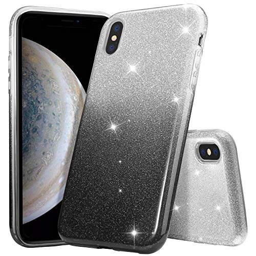 ProCase Glitter Case for iPhone Xs Max, Sparkle Bling Luxury Soft Bumper Case Protective Cover (Supports Wireless Charging) for Girls Women for Apple iPhone Xs Max 6.5 (2018 Release) -Black Silver