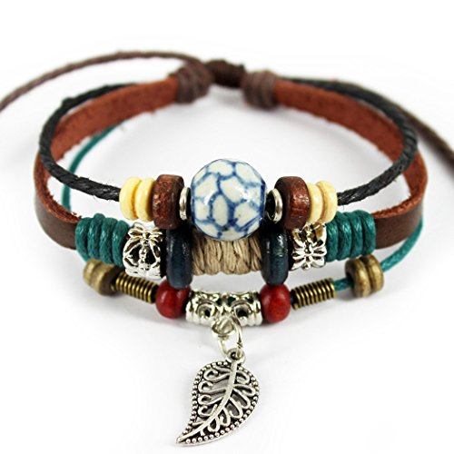 MORE FUN Stone Soccer Figure Bead Three Layers Soft Leather Cuff Bracelet with Leaf