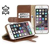 StilGut® Talis with Stand, Leather Wallet Case for Apple iPhone 6 Plus (5.5''), Cognac Brown