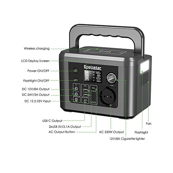 51zmqV6rTOS Enginstar Tragbare Powerstation 296Wh Solar Generatoren mit 230V Steckdose, Wireless Ladestation, USB/12V DC Ausgabe…