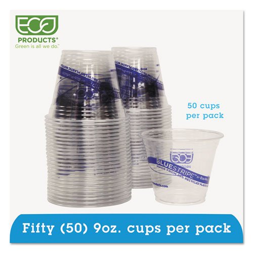 Eco-Products - BlueStripe Recycled Content Clear Plastic Cold Drink Cups, 9oz, Clear, 50/Pack EPCR9PK (DMi PK