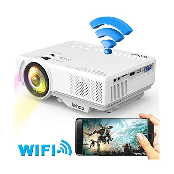 "WiFi Mini Projector, Jinhoo 2019 Newest 1080P Supported, 2800 Lux HD Home Theater Projector with 176"" Projector Size, 50000 Hours Lamp Lifetime, Compatible with TV Stick, HDMI, USB, SD, VGA"