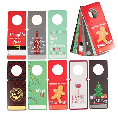 - Wine Gift Tags - 48-Pack Holiday Wine Bottle Tags, Hang Hags, Paper Gift Label, Wine Tags for Christmas Dinner, Winter Holiday Parties, Wine Bottle Decor, 8 Funny Wine Pun Designs, 3 x 7.75 Inches