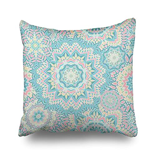 InnoDIY Throw Pillow Covers Vintage Christmas Pattern Holidays Arabesque Pillowslip Square Size 18 x 18 Inches Cushion Cases Pillowcases