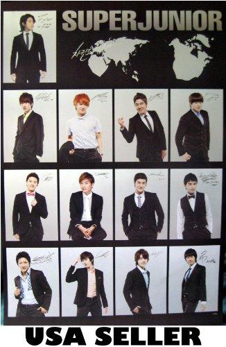 Super Junior black collage Poster Korean Kpop boy band Superjunior SuJu Siwon Kyuhyun sent From USA in PVC pipe