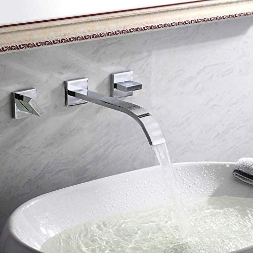 S-TING 蛇口 タップ滝ウォールはクローク(クローム仕上げ)のために利用可能なバスルームのシンクの蛇口ダブルレバーモノ実クロム冷温水をマウント 水栓金具 立体水栓 万能水栓