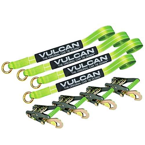 VULCAN High-Viz 2 x 144 Car Rim Tie Downs w/Ratchets - 3300 lbs. SWL, 4 Pack