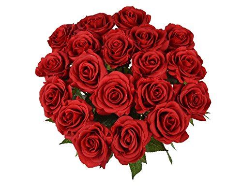 10 Pcs Real Touch Silk Artificial Rose Flowers Silk Gluing PU Fake Flower Home Decorations for Wedding Party Birthday Garden Bridal Bouquet Flower Saint Valentine's Day Gifts(Bright Red) (Red Flowers For Valentines Day)