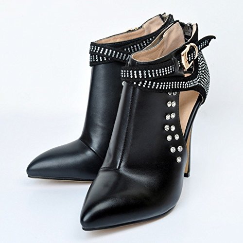 Shoes With High Black Pumps Toe Leather Black Pointed Large Prom Cm 11 10 Size Heeled Shoes Sandals Shoes VIVIOO Dew AxRqzB