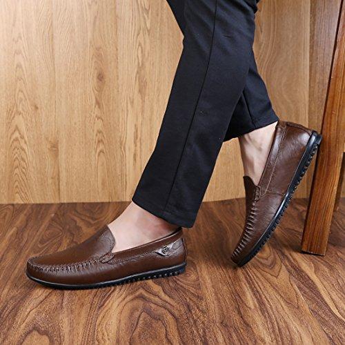 Tda Jongens Toevallige Instappers Van Heren Ademend Leer Drijvend Wandelend Loafers Schoenen Donkerbruin