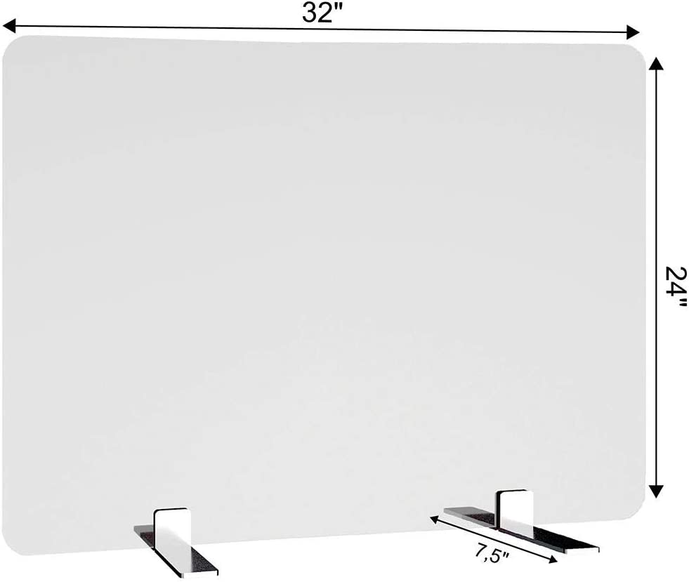"Free-Standing Acrylic Protective Guard for Countertops w/Small 7.5 inches Flat Legs, Office Desk Partition Panels, Protective Barriers for Workspaces (32"" x 24"")"
