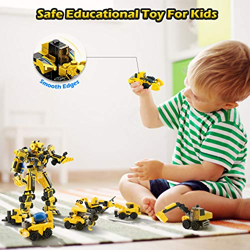 RACPNEL Building Toys For Kids, 25-in-1 STEM Toys for 6 Year Old Boys & Age 6+, Building Robot and Construction Vehicles Kit with 573 PCS Building Bricks & 2 Generic Baseplates, Boys Gift Age 5 6 7 8+