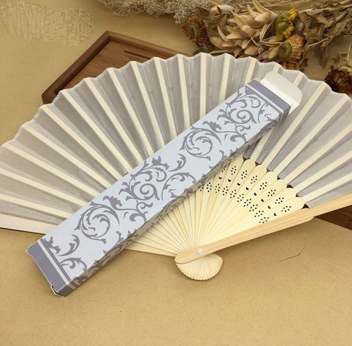 Beige 100 Pcs/Lot Wedding Fan Packing With Gift Box Beautiful Hand Fan by Hand Fan
