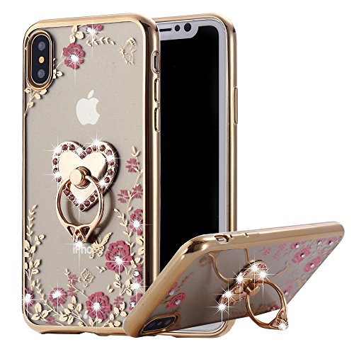 iPhone XS Max Case Ring Holder, Miniko Soft Slim Bling Rhinestone Floral Crystal TPU Plating Rubber Glitter Case Cover with Detachable 360 Finger Kickstand for iPhone XS Max 6.5 inch Gold