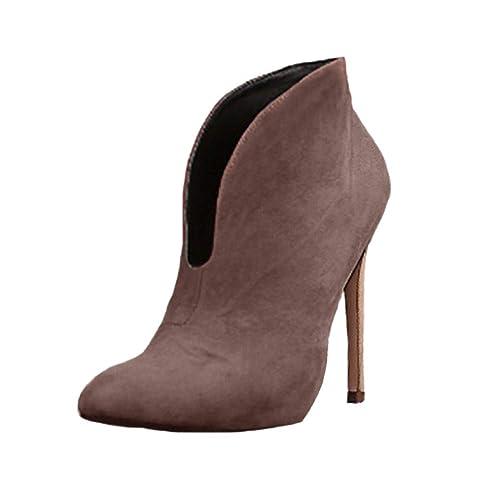 Minetom Mujeres Botas Sólido Gamuza Boots Moda Casual Zapatos Otoño Elegante Bootie Attractivo Tacón Alto 12 Cm: Amazon.es: Zapatos y complementos