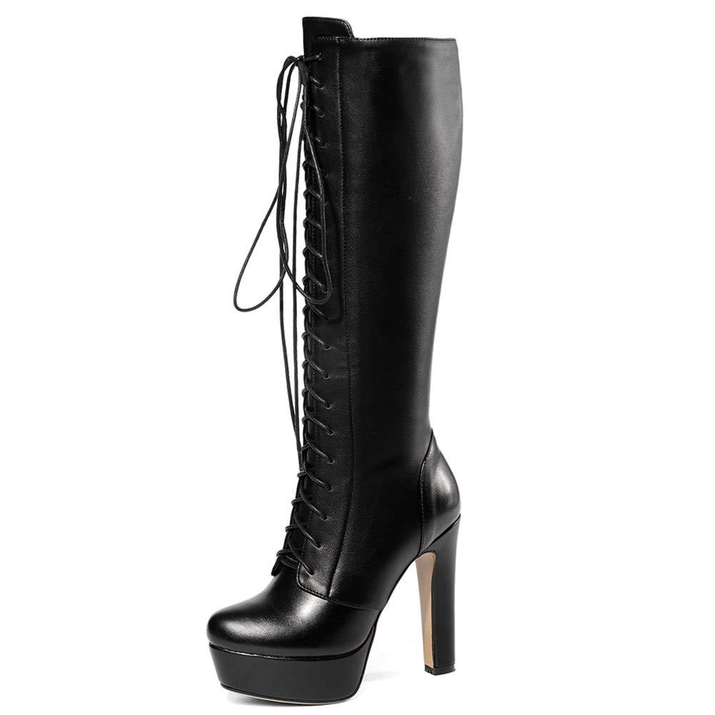 Vimisaoi Womens Round Toe High Heel Waterproof Platform Knee High Boots