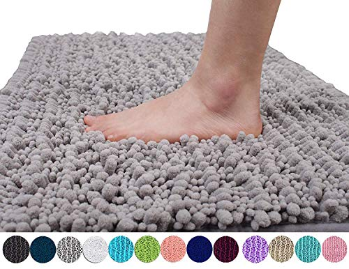 Yimobra Original Luxury Shaggy Bath Mat, Soft and Cozy, Super Absorbent Water, Non-Slip, Machine-Washable, Thick Modern for Bathroom Bedroom (24 x 17 Inch, Gray)