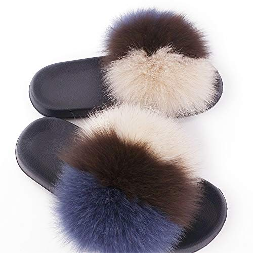 Strap Manka On Sandals Vegan Toe Fox Feather Slip Open Leather Vesa 15 Real Single Color Mixed Fur Women PF6W4xUrcP
