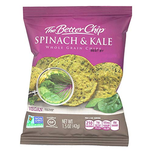 The Better Chip Whole Grain Chips - Spinach and Kale - Case of 27 - 1.5 oz.
