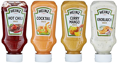 Heinz Sauces 4er Pack (4 x 220 ml) - (Curry Mango / Garlic / Hot Chili / Cocktail) -