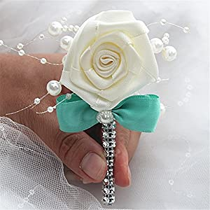 S-SSOY Boutonniere Bridegroom Groom Men's Boutonniere Groomsmen Best Man Boutineer with Pin Brooch Corsage for Wedding Homecoming Prom Suit Decor Bowknot Turquoise 1 Piece 101