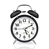IEKA Alarm Clock, 4 Inch Quartz Analog Twin Bell Retro Battery Operated Clock Quiet Non-ticking Sweep Second Hand with Nightlight and Loud Alarm (Black)