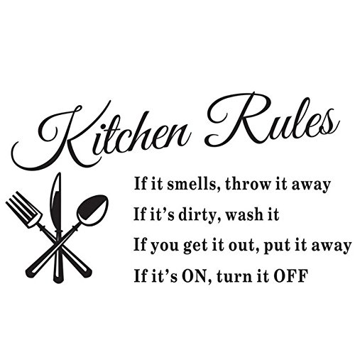 [Kitchen Rules Sticker Removable Vinyl Wall Decals Inspirational Letter Wall Art For Kitchen, Dining Room,14 X 24¡­ by] (Animal That Starts With The Letter N)