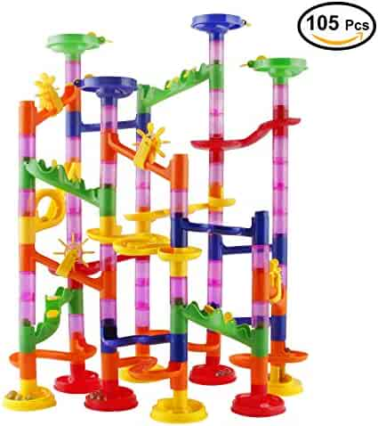 Marble Run Race Coaster Set, Elongdi Marble Run Railway Toys [ 105 Pieces ] Construction Toys Building Blocks Set Marble Run Race Coaster Maze Toys for Kids