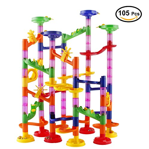 Marble Run Race Coaster Set, Elongdi Marble Run Railway Toys [ 105 Pieces ] Construction Toys Building Blocks Set Marble Run Race Coaster Maze Toys for (Ball Race Set)