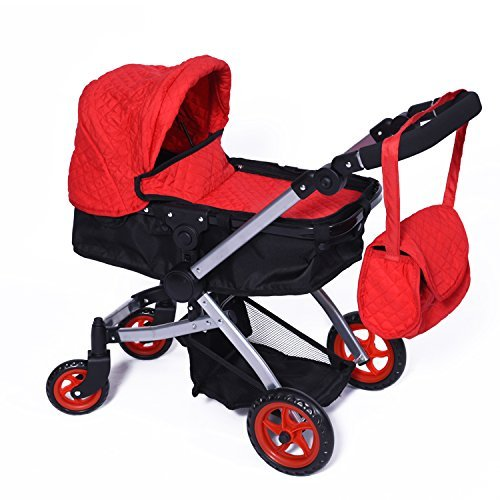 Modern Bassinet Doll Stroller -SUPERIOR QUALITY Red Quilted Fabric- NEW LUXURY COLLECTION - Adjustable Height - FREE Diaper Bag (Doll Baby Stroller Combo)