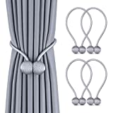 curtain tie back ideas Deluxe Magnetic Curtain Tiebacks with Unique Wooden Balls, 4 Pack Decorative Drapery Holdbacks Rope Holder for Home Kitchen Office Window Sheer Blackout Drapes