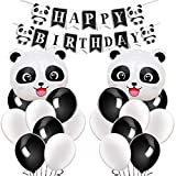 Kreatwow Panda Birthday Party Supplies Panda Birthday Banner Balloons for Panda Bear Birthday Decorations