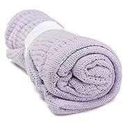 Newborn Baby Blankets Super Soft Cotton Crochet Summer 100cmX80cm Candy Color Prop Crib Casual Sleeping Bed Supplies Hole Wrap Light Purple