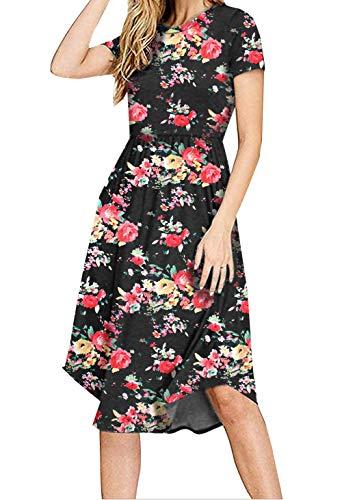 (PALINDA Women's Summer Short Sleeve Pleated Polka Dot Swing Midi Dress with Pockets (XXL, Floral Black))
